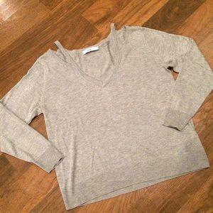 Zara Knit Cold Shoulder Gray Sweater EUC